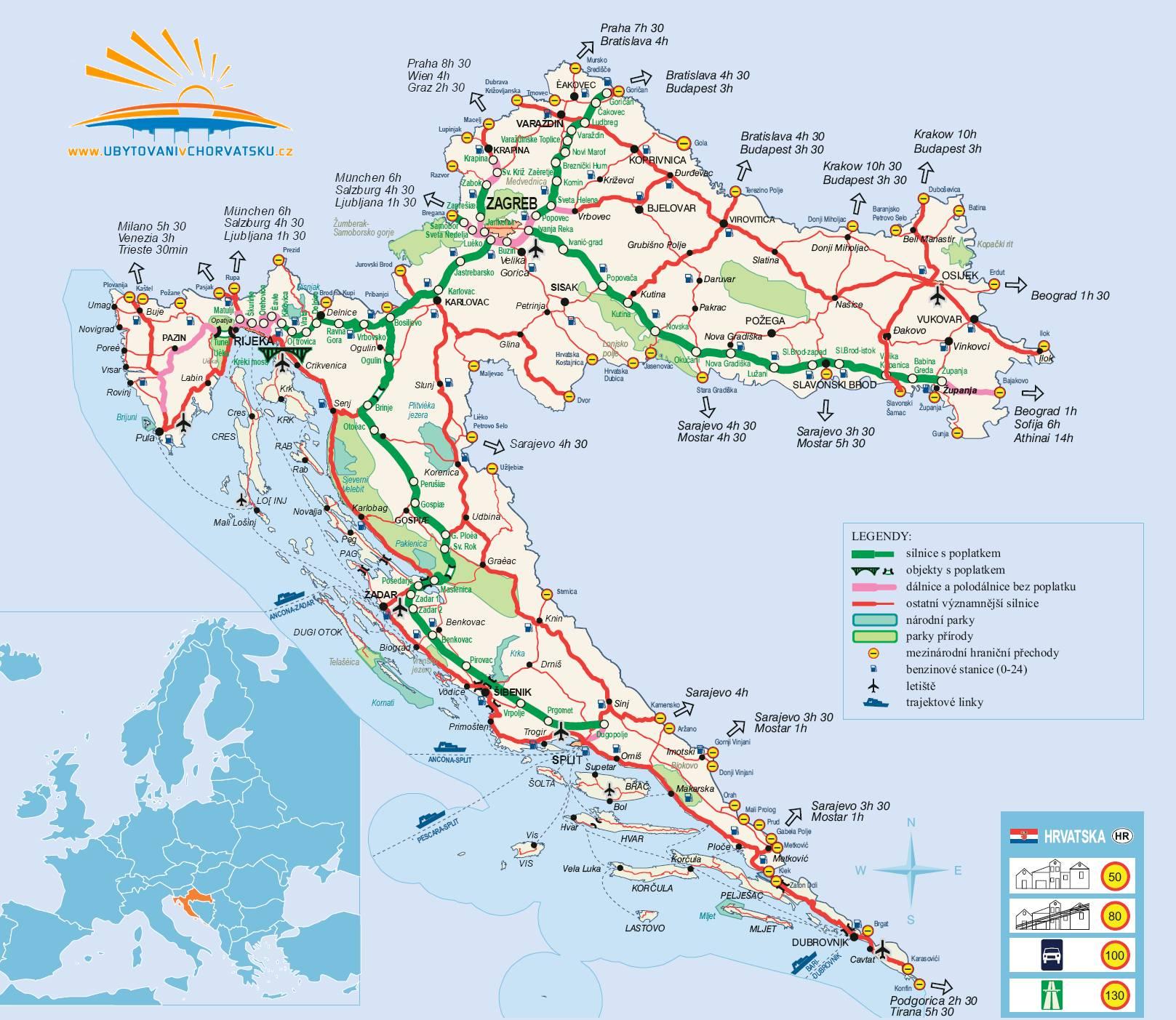 Mapa Chorvatsko Turisticka Mapa